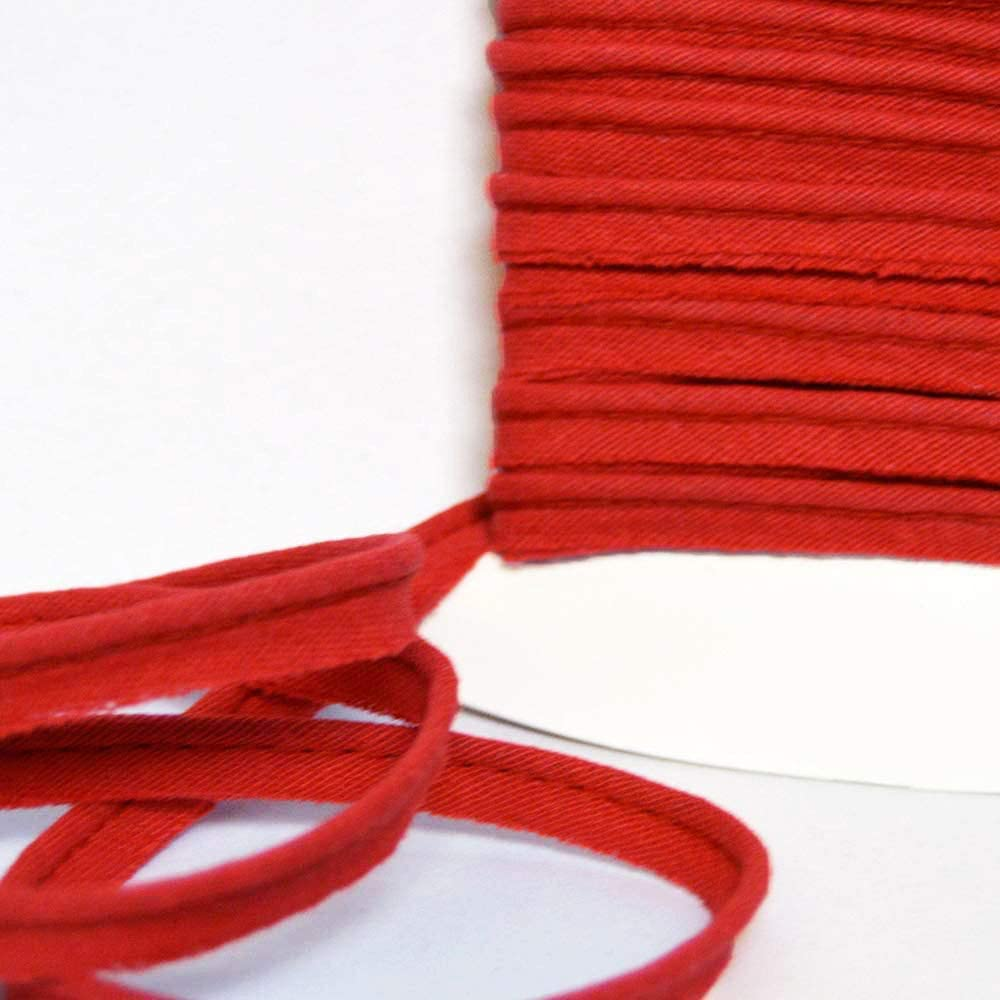 Par 10 m/ètres designers-factory Cotton Piping Red with Red Stitching