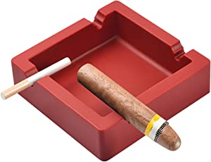 OILP Large Ashtray for Cigars Big Cigarettes Ashtrays Outdoor Ashtray 4 Dual-use Rest Unbreakable Silicone Ashtray for Patio Outdoor Indoor Ashtray Home Decoration (Red)