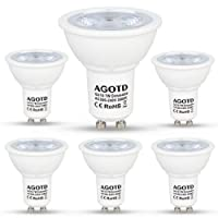 AGOTD GU10 LED Dimmbar 7W Lampen 230V. vgl. 50W MR16 Halogenlampen,560LM,GU 10 LED Warmweiß 3000k,Dimmen Glatt, 90% Kompatibel,kein Flimmer, Kein Lärm, CE ERP LED Leuchtmittel,38 Grad,6er Pack