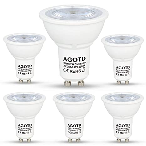AGOTD Bombillas LED GU10 Regulable 7w Blanco Cálido, Alta Compatibilidad, Sin Parpadeo, Sin