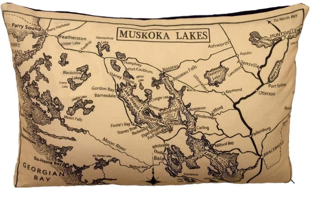 Muskoka Lakes Vintage Map Pillow