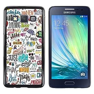 TopCaseStore / la caja del caucho duro de la cubierta de protección de la piel - Happy Positive Motivational Hand - Samsung Galaxy A3 SM-A300