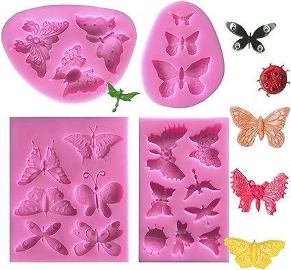 DIY Silikonform Schmetterlinge f/ür Jelly Sugar Candy Schokolade Fondant Kuchen Dekoration Rosa Mini Schmetterling Silikon Formen TANOSAN 4er Schmetterling Kuchen Fondant Formen