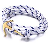 Vnox Acciaio inossidabile blu scuro di nylon corda intrecciata maschile femminile Maritime Anchor vichingo spostano il braccialetto,argento