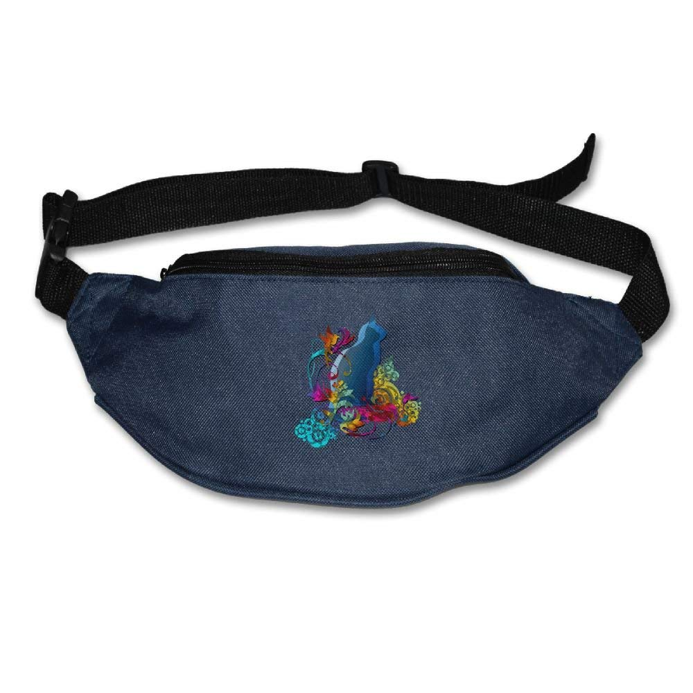 Waist Purse Colorful Cat Funny Logo Unisex Outdoor Sports Pouch Fitness Runners Waist Bags