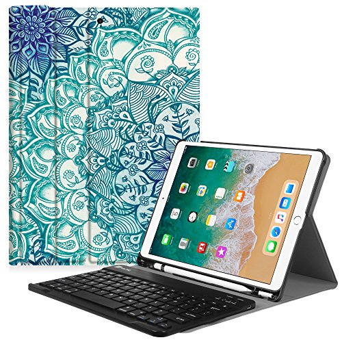 Fintie iPad Pro 10.5 Keyboard Case with Built-in Apple Pencil Holder - SlimShell Protective Cover with Magnetically Detachable Wireless Bluetooth Keyboard for Apple iPad Pro 10.5, Emerald Illusions