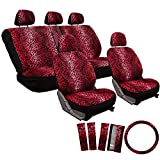 zebra seat covers for a car - OxGord 17pc Set Leopard Animal Print Auto Seat Covers Set - Front Low Back Buckets - Rear Split Bench - Red