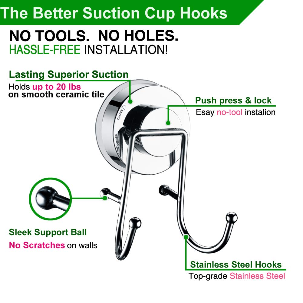 AquaKin Suction Cup Shower Head Holder,Handheld Showerhead Bracket for Bathroom,Tub-2pack