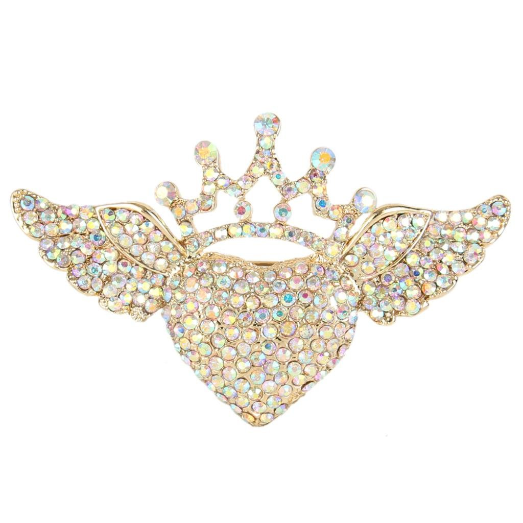 EVER FAITH Austrian Crystal Romantic Love Heart Angel Wing Crown Brooch Iridescent Clear AB Gold-Tone