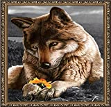 Set of Diamond Painting Handmade Crafts Stones Mosaic Picture Wolf with Flower Yellow