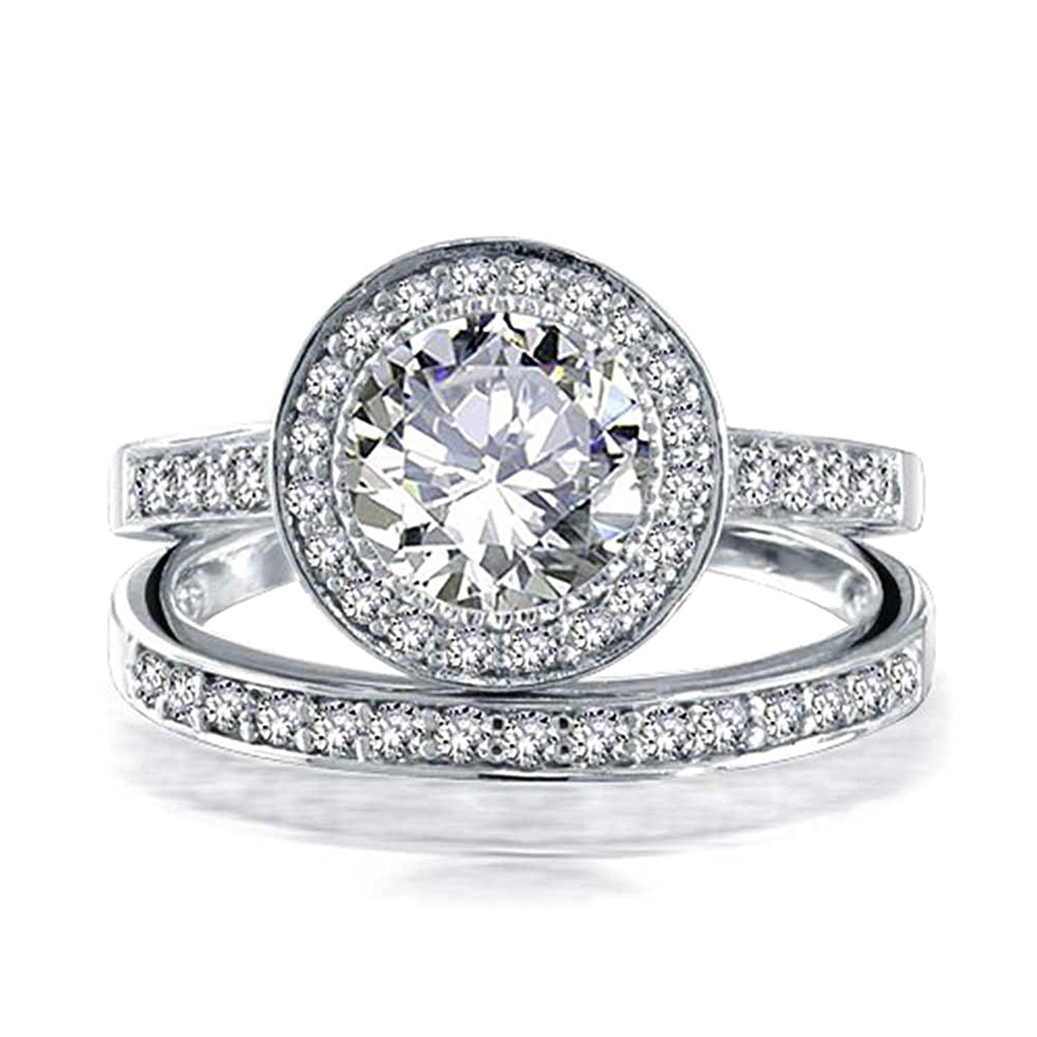 bling jewelry 925 silver round 2ct cz engagement