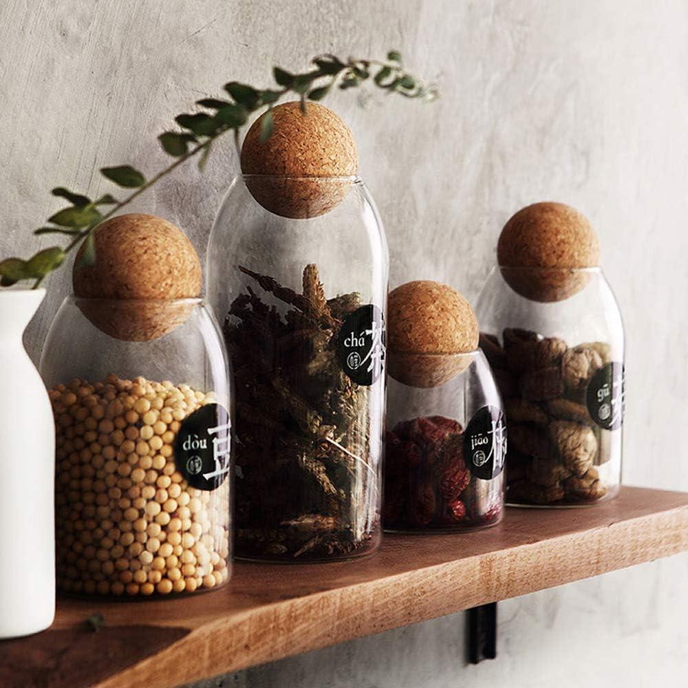 zucchero 250 ml per t/è sale Toppathy barattolo in vetro trasparente con coperchio in bamb/ù contenitore sigillato per alimenti caff/è