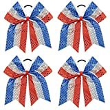 CN Sequin Cheer Bow Large Patriotic Hair Bows Attached Baby Girls Elastic Headband for Cheerleading Girls