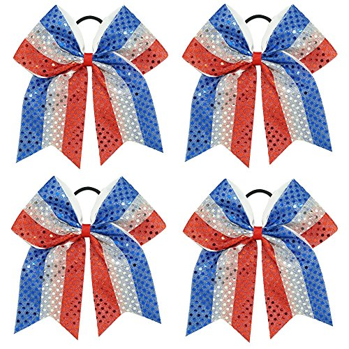 CN Sequin Cheerleader Bow Large Patriotic Hair Bows Attached Baby Girls Elastic Headband for Cheerleading Girls
