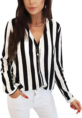 Blusa Mujer Primavera Otoño Rayas Camisas Elegante Un Solo ...