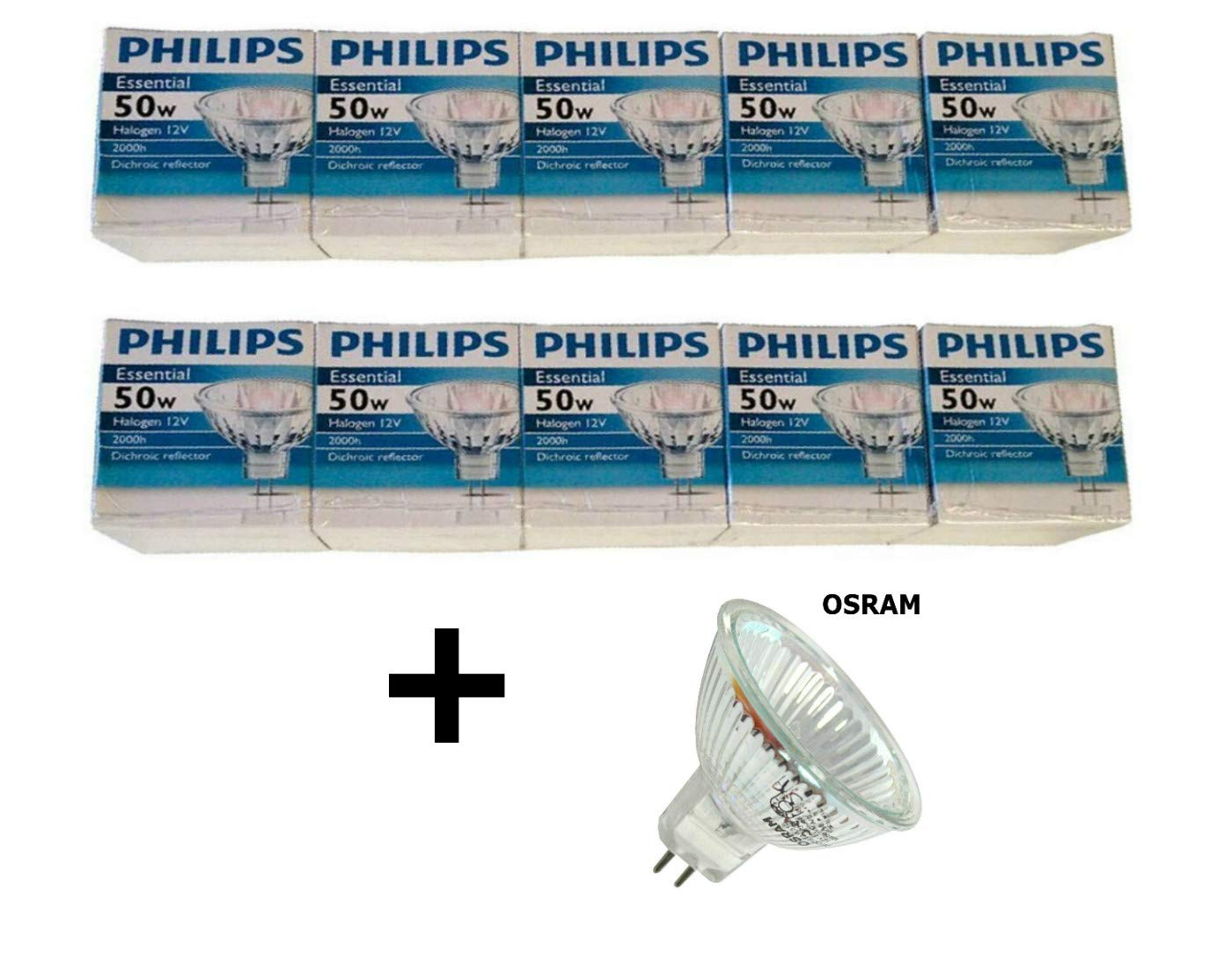 Philips Halogen Light Bulbs/Landscape Indoor or Outdoor Flood/Dimmable 50w Mr16 12v 2 Pin 36 Angle Gu5.3 Base (10 Packs) Bundle with Osram Decostar 51S 41370 WFL LC (1 Pack)