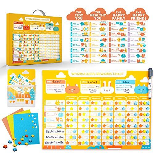 Behavior Chore Reward Star Chart : Multiple Kids Toddlers Age, Magnetic Visual Responsibility Potty Training Calendar Schedule Board, Magnet Sticker Homeschool Kindergarten Preschool Learning Supplies