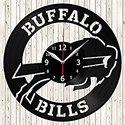 Buffalo Bills Vinyl Record Wall Clock Decor Handmade Unique Design Original Gift