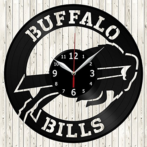 Buffalo Bills Vinyl Record Wall Clock Decor Handmade Unique Design Original - Clock Buffalo Bills
