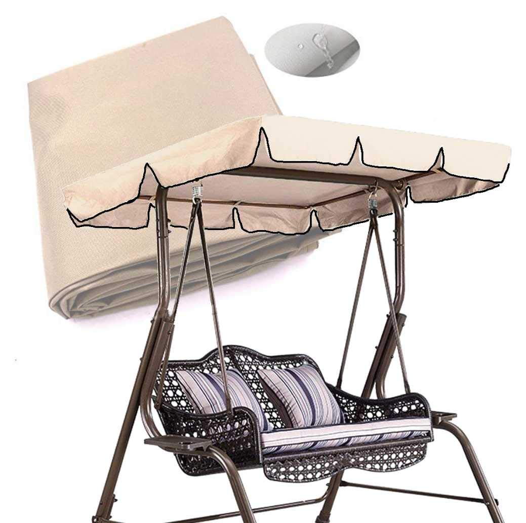 skyfiree Patio Swing Canopy Replacement Cover Waterproof 600D Polyester – 2 Years Warranty – 65x45x5.5 inch Canopy Top Cover Replacement Canopy UV Block Garden Outdoor Porch Patio Swing Beige