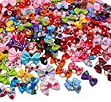 YOY 50 Pcs Adorable Grosgrain Ribbon Pet Dog Hair Bows with Elastic Rubber Bands - Doggy Kitty Topknot Grooming Accessories Set for Long Hair Puppy Cat