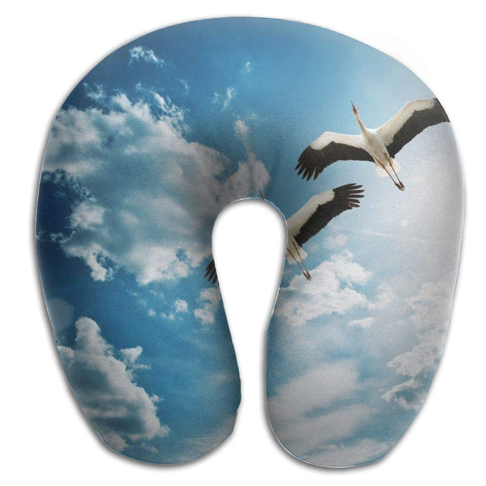 Almohadas para Cuello Neck Pillow with Resilient Sunny Material Sunny Resilient Two Flying White Crane U Type Travel Pillow Super Soft Cervical Pillow 5a2be1