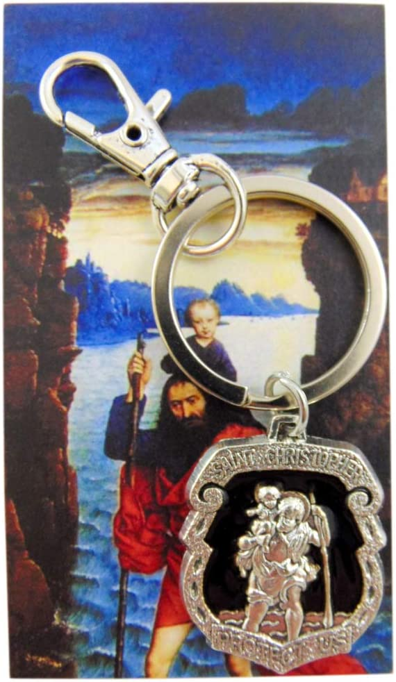 Westmon Works St Christopher Metal Badge Keychain Travel Saint Key Ring with Holy Prayer Card