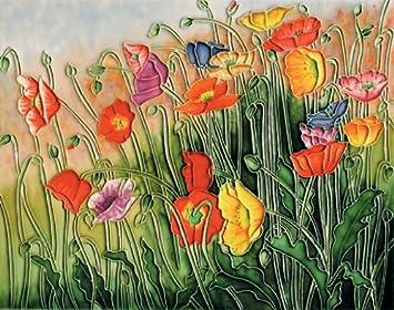 Poppies – Decorative Ceramic Art Tile – 11 x14 En Vogue