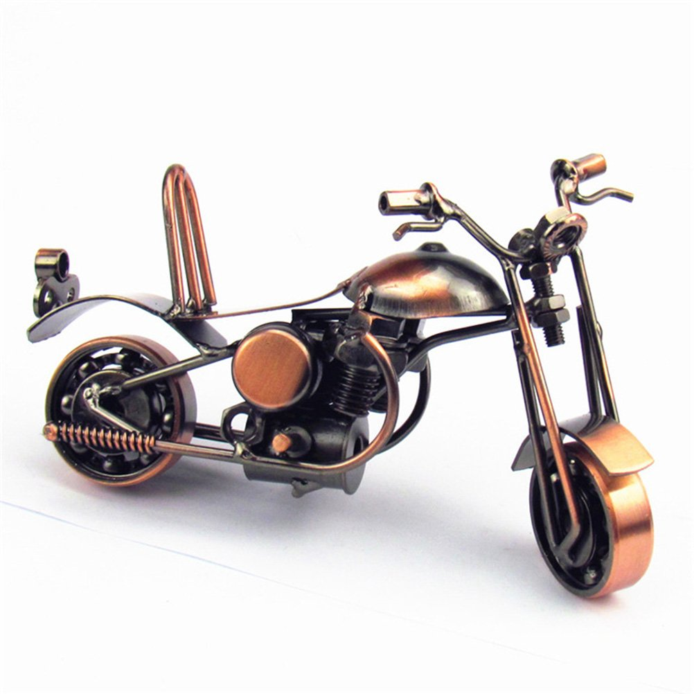 VORCOOL Vintage Iron Harley Davidson Motorcycle Model Handmade Classic Motorcycle Models Retro Handicraft Collectible Iron Art Sculpture for Motorcycle Lover Home Desk Workplace Office Decoration (Bronze)