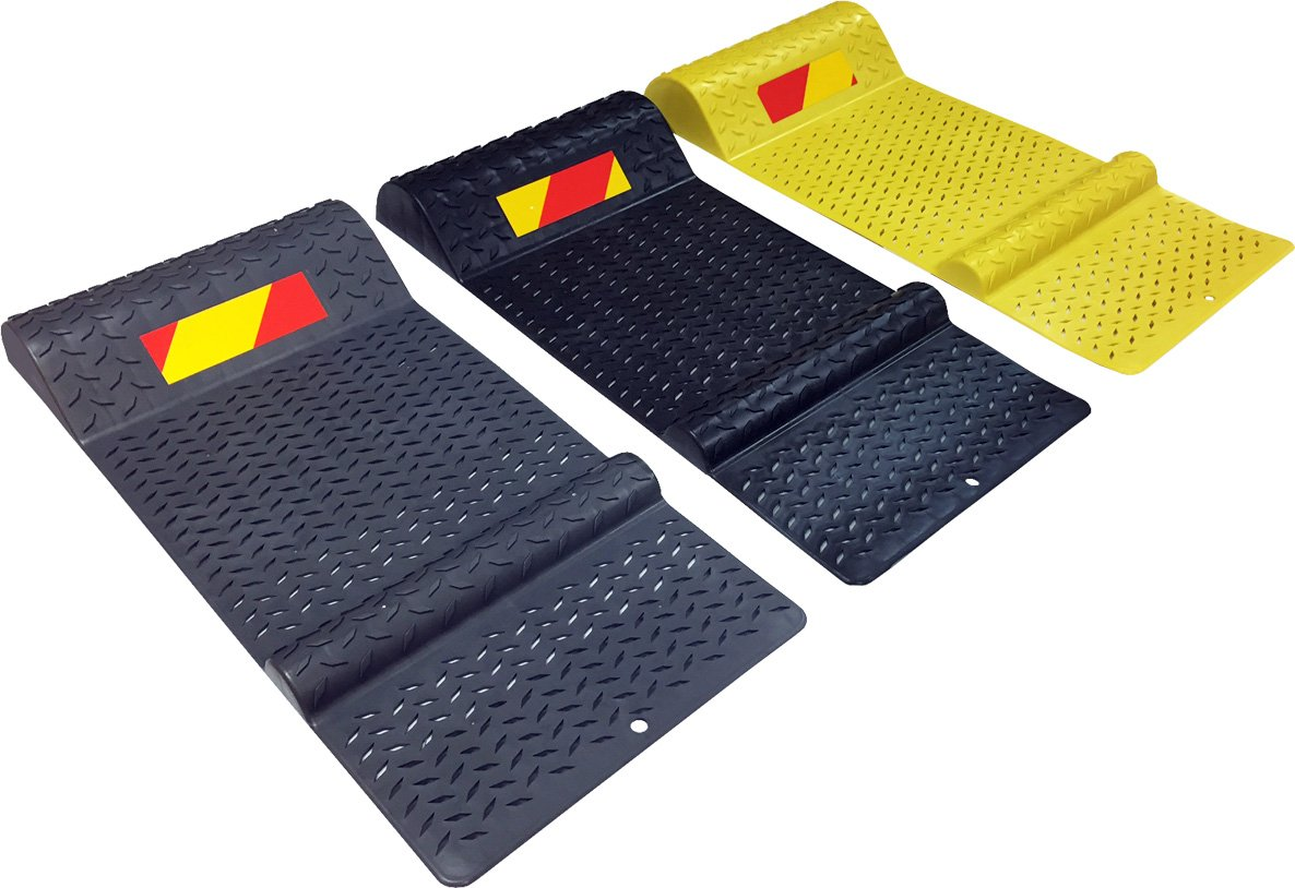 Electriduct Pair of Plastic Park Right Parking Mat Guides for Garage Vehicles, Antiskid Car Safety - Yellow by Electriduct (Image #1)