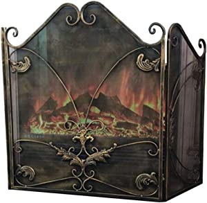 HWF Extra Wide and Stylish 3 Fold Fireplace Screen, Antique Brass Finish, Fireplace Fence Spark Guard for Open Fire/Gas Fires Stove/Log Wood Burner