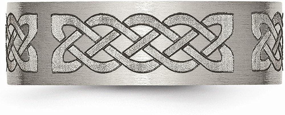 Titanium Flat 8mm Laser Design Brushed Band