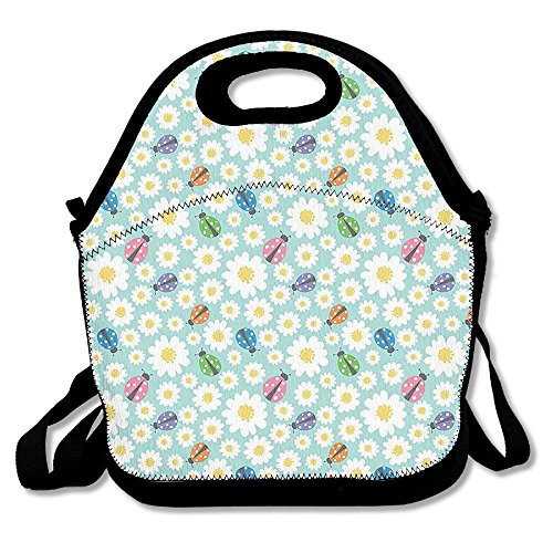 Nskdfgnp Colorful Daisies And Ladybirds Image Good Luck Charm Discover Your True Self Concept Insulated Lunch Bag With Animal (Donation Charm)