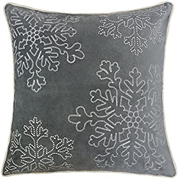 Homey Cozy Embroidery Gray Velvet Throw Pillow Cover, Merry Christmas Series Snowflake Luxury Soft Fuzzy Cozy Warm Slik Gift Square Couch Cushion Pillow Case 20 x 20 Inch, Cover Only
