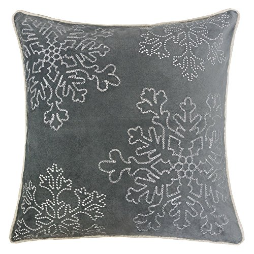 Homey Cozy Embroidery Gray Velvet Throw Pillow Cover, Merry Christmas Series Snowflake Luxury Soft Fuzzy Cozy Warm Slik Gift Square Couch Cushion Pillow Case 20 x 20 Inch, Cover Only ()