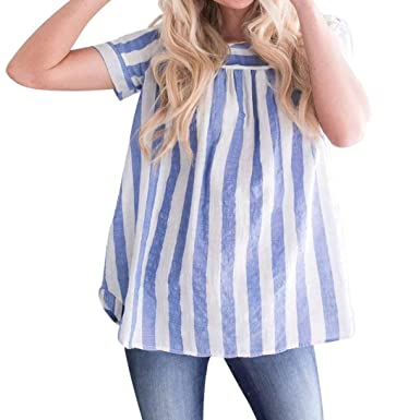 GREFER Women Summer New Loose Striped Short Sleeveless Tank Top Blouse (S ba9bc0cbd