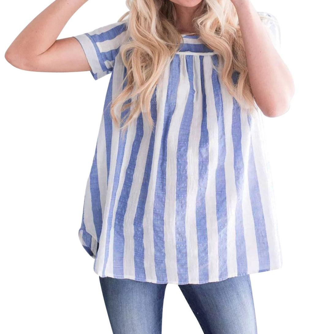 GREFER Women Summer New Loose Striped Short Sleeveless Tank Top Blouse (S, Blue-1)
