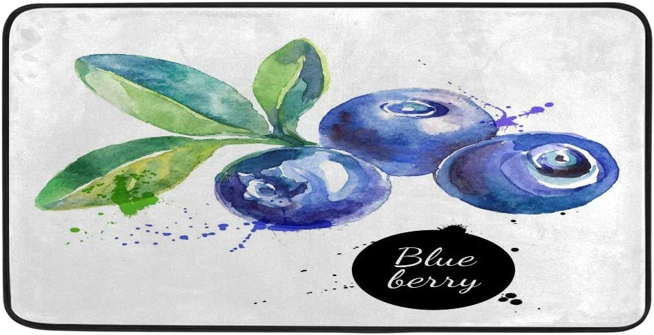 Guitong Long Kitchen Area Rugs Standing Mat Non-Fatigue Chef Mats Rug Non-Slip Distressed Runner Rugs Carpet Softy Waterproof Polyester Watercolor Blueberry Kitchen Home Decor 39x20 inch