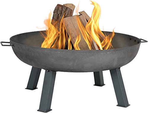Sunnydaze Cast Iron Outdoor Fire Pit Bowl – 34 Inch Large Round Bonfire Wood Burning Patio Backyard Firepit for Outside with Portable Fireplace Metal Handles, Steel Colored