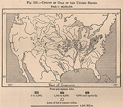 Amazon.com: Output of Coal in the United States. USA - 1885 - old ...
