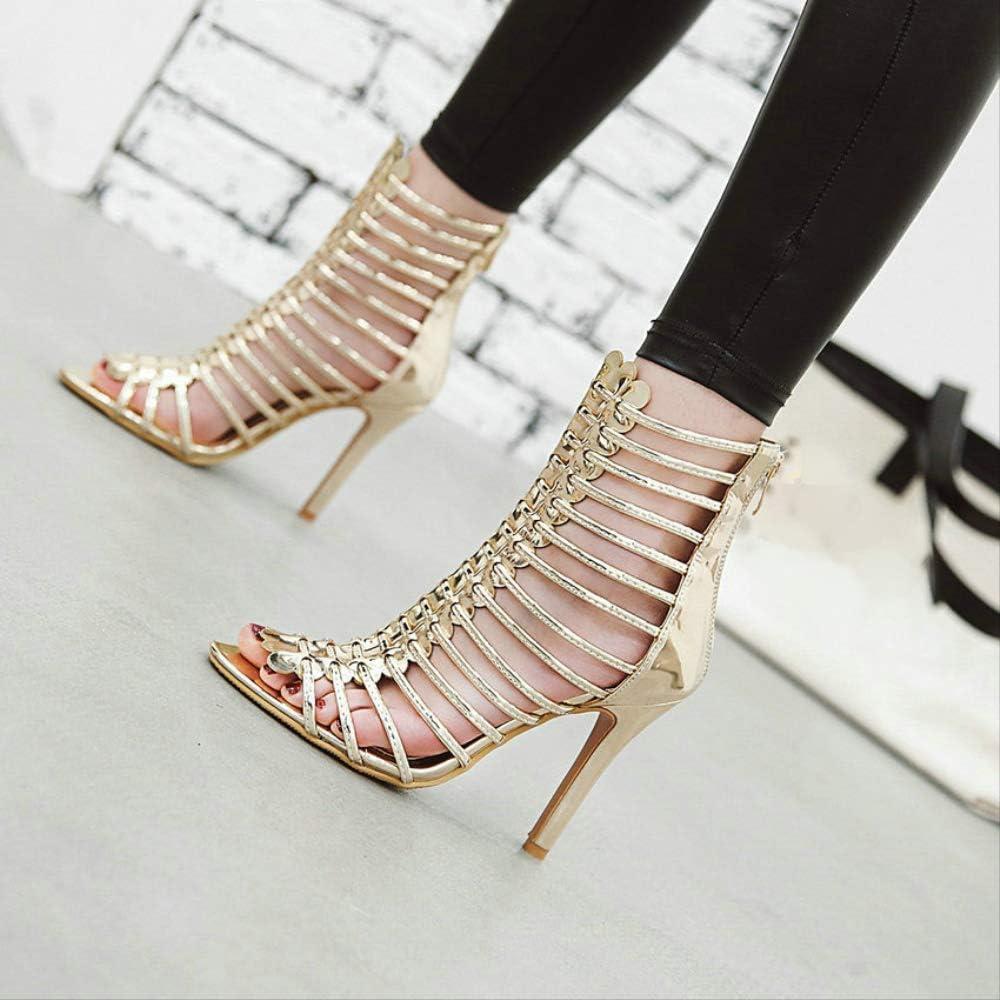QXNZY Femmes Sandales Ruban Gladiateur Bottes Cool Peep Toe Mince Talon Haut Zipper Fashion Party Dames Chaussures Taille 34-43 Gold