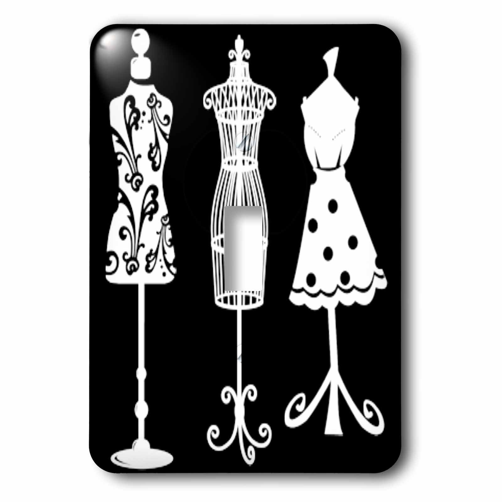3dRose LLC lsp_65171_1 Pretty Womens Dress forms In White On A Black Background Single Toggle Switch