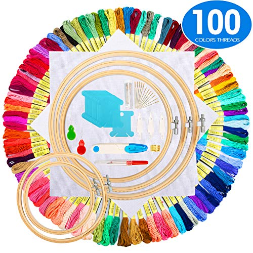 Embroidery Starter Kit,100 Color Threads,5 PCS Bamboo Embroidery Hoops,2 PCS 11.8 inches Aida Cloth,and Cross Stitch Embroidery Needle Point Kit Beginner Supplies