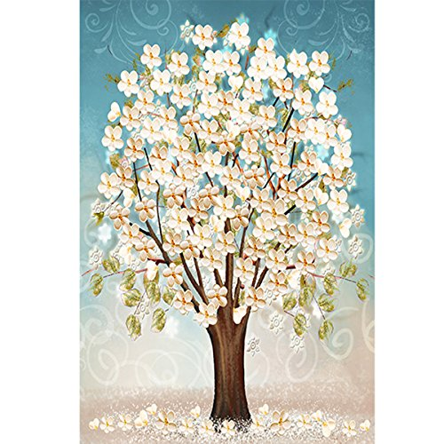 5D Full Drill Diamond Painting Kit, DIY Diamond Rhinestone Painting Kits for Adults and Children Embroidery Arts Craft Home Decor 13.8 x 19.7 inch (Cherry Blossom)