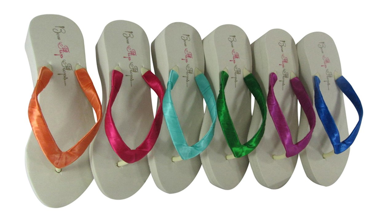 Design your Bridal Wedding Wedge Flip Flop Sandals, Choose Heel and Ribbon Colors, Ivory 2 inch