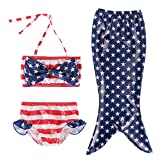 TFJH E Girls 3PCS Princess Fish Scales Tail Swimsuit Bathing Suit US Flag 110