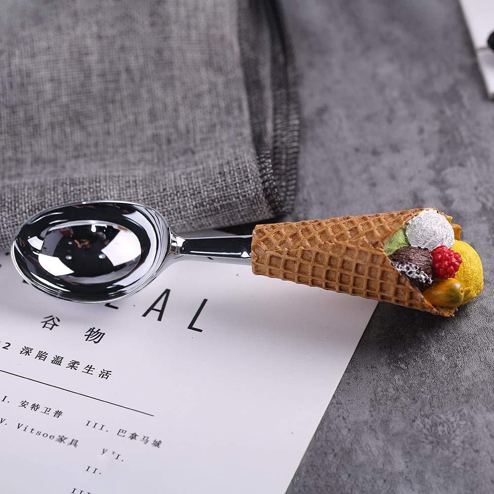 SH-Flying Cuill/ère cuill/ère avec Cornet de cr/ème glac/ée Poign/ée Vaisselle en r/ésine Boutique de Desserts en Acier Inoxydable
