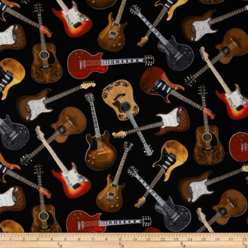 (Timeless Treasures Guitars Black Fabric by The Yard)