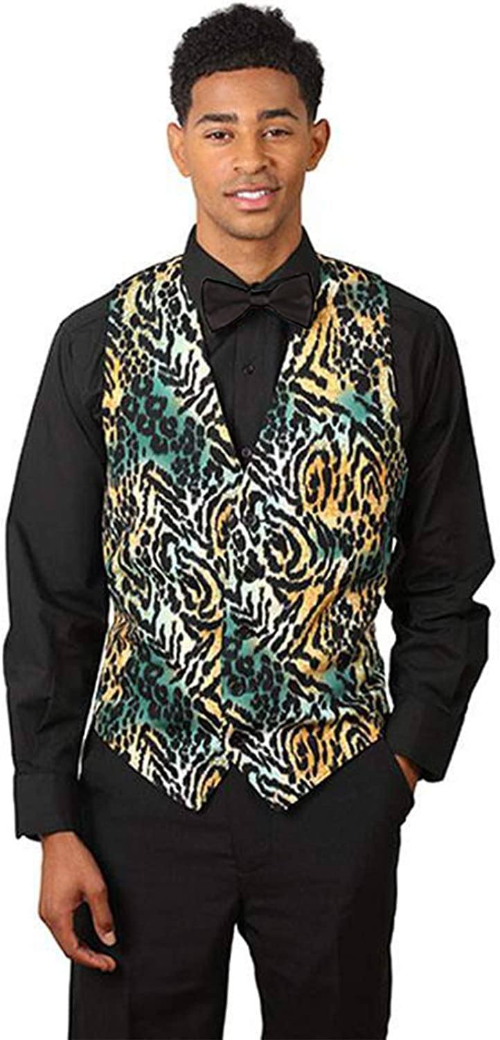 SixStarUniforms Mens Formal Designer Business Suit Jaguar Print Vest and Black Bow Tie Set