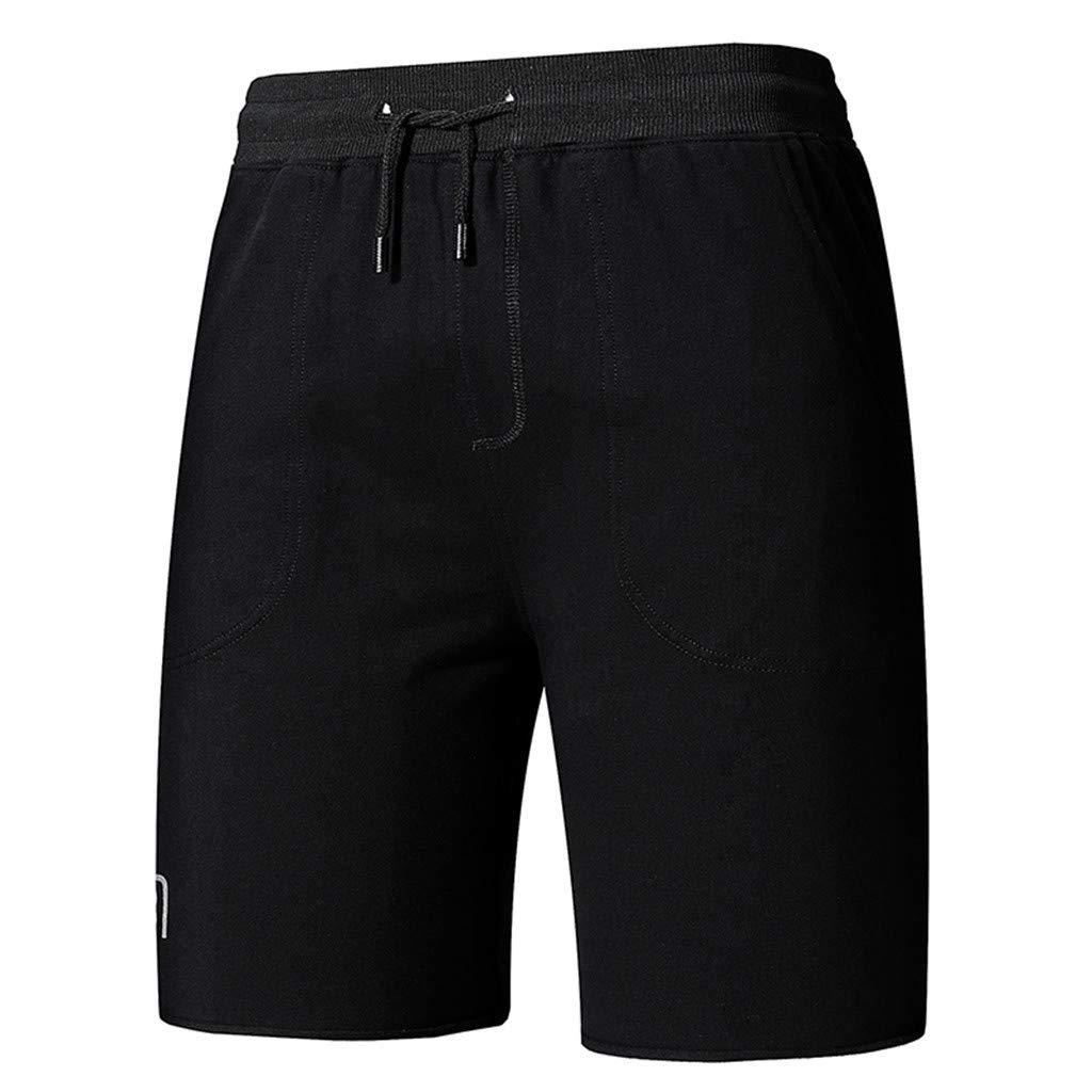 70b45644aec3 iLXHD Shorts Men's Summer Solid Color Sports Shorts Drawstring Pants ...